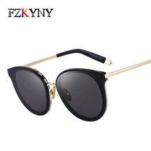 цена на FZKYNY Women Brand Designer Fashion Cat Eye Sunglasses Classic Vintage Big Alloy Frame Sunglasses Lady All-match Cateye Eyewear
