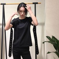 little good ~ personality splicing ribbon 2018 spring the new black female T8020 round collar short sleeve T shirt