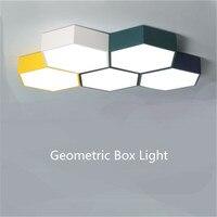 Modern Hexagon Box Combination Led Ceiling Light for Foyer Bedroom Kid's Room Iron Acrylic Illuminare Lighting 1741