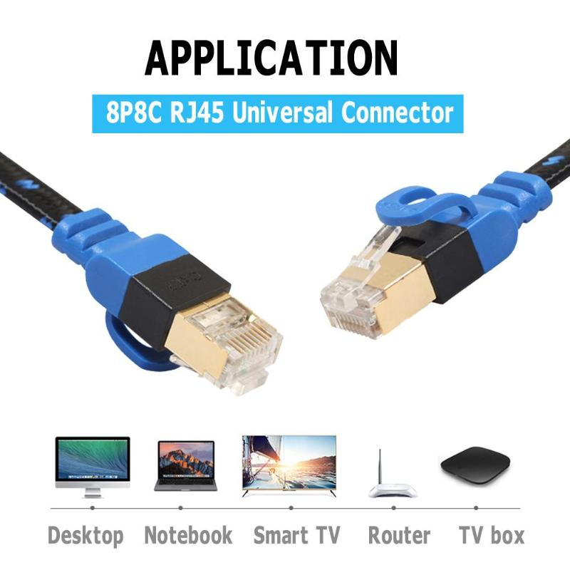 Rj45 High Speed Connector for Routers Black Case Safety 1x 6 feet Ethernet Network CAT7 Cable Cord Flat Computers Printers etc