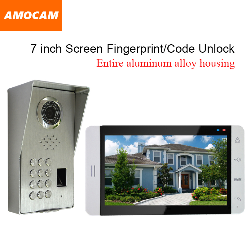 LUXURY Pure Aluminum Alloy Housing Camera Waterproof Night Vision 7 LCD Screen Fingerprint/Code Video Door Phone Intercom Kit luxury aluminum watch
