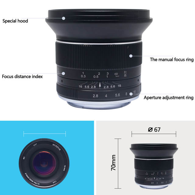 US $189 0 |Mcoplus 12mm f/2 8 Manual Ultra Wide Angle Lens APS C for Canon  EOS EF M Mount Mirrorless Camera EOS M EOS M2 EOS M10 EOS M3-in Camera Lens