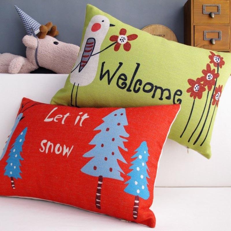 50*30cm Christmas Tree Waist Cushion Cover Cartoon Bird Let It Snow Throw Pillows Lumbar Pillow Case Couple Car-covers Sofa