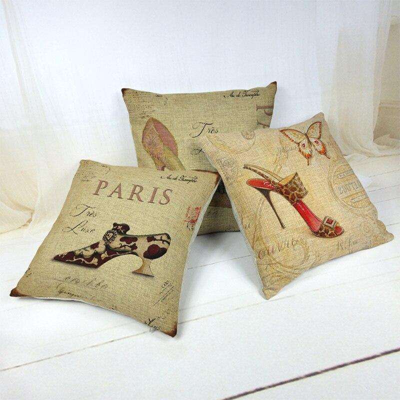 Charm High Heel Pattern Waist Cushion Pillowcase Cushion Cover Pillow Case For Sofa Home Decor F