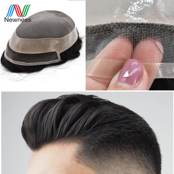 NEWNESS Fine Mono and PU Mens Toupee with Natural Lace Frontline Men Hairpieces Remy Human Hair Replacement Wig for Males