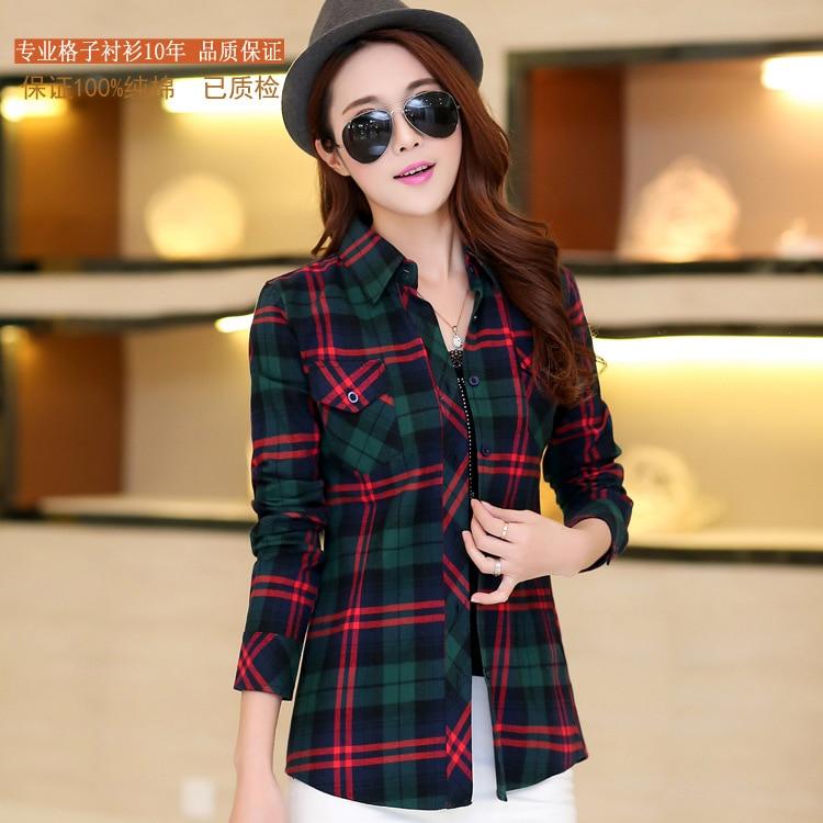 6c8e0052eb7 2016 New spring   autumn100% cotton plaid shirt women s shirt long-sleeve plus  size clothing blouse shirts women free ship