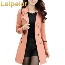 Laipelar Spring Autumn Trench Coat 2018 Turn Down Collar Casual Trench Coat Women Solid Long Slim Double Breasted Coats Outwear autumn winter trench coat with belt double breasted long sleeved solid lapel long trench coat laipelar european trench for women