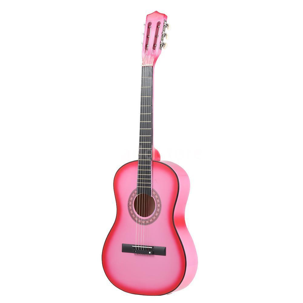38 6 String Acoustic Round Guitar Lightweight for Beginners Kids Color:Pink