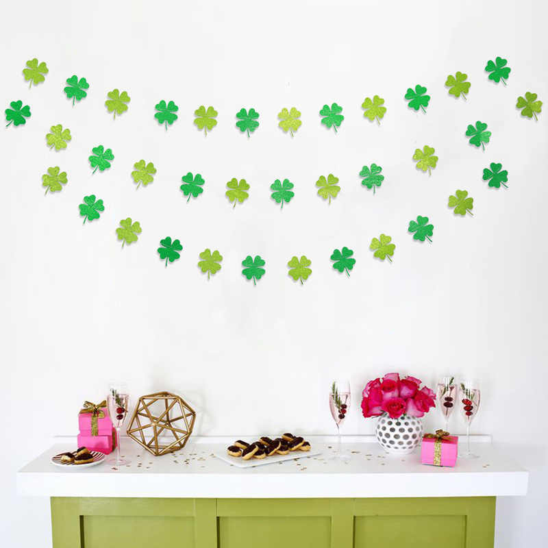 4M Irish Green Shamrock Paper Banners Four Leaf Clover