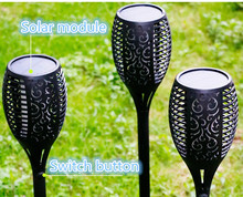 Solar powered LED Flame Lamp Waterproof Lawn Flickering Torch Light Outdoor Fire Lights for Garden Decoration