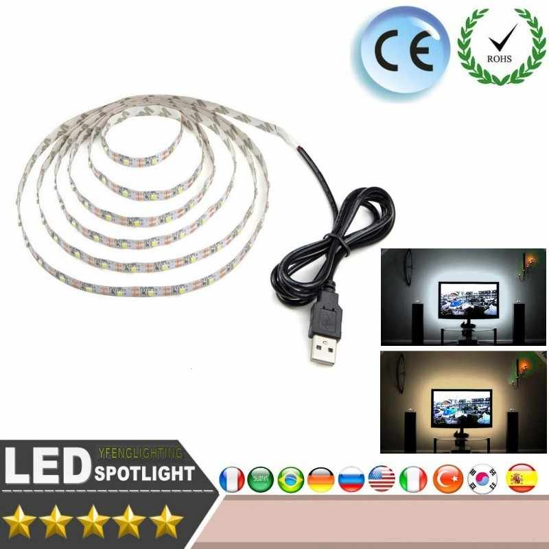 DC 5 V LED Strip 24Key Kabel USB Power Fleksibel Lampu Lampu 50 CM 1 M 2 M 3 M 4 M 5 M SMD 2835 Meja Layar Tape TV Pencahayaan Latar Belakang