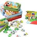 TUMAMA 60 pcs Dos Desenhos Animados 3D Puzzle com Caixa de Ferro para Crianças Cedo Educacional Jigsaw Puzzle Brinquedos Montessori brinquedos De Madeira para crianças