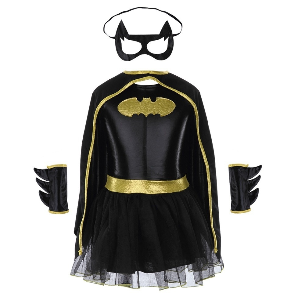 Child Girls Batman Batgirl Fancy Dress Tutu Superhero Costume Outfits Comic 4PCS 1