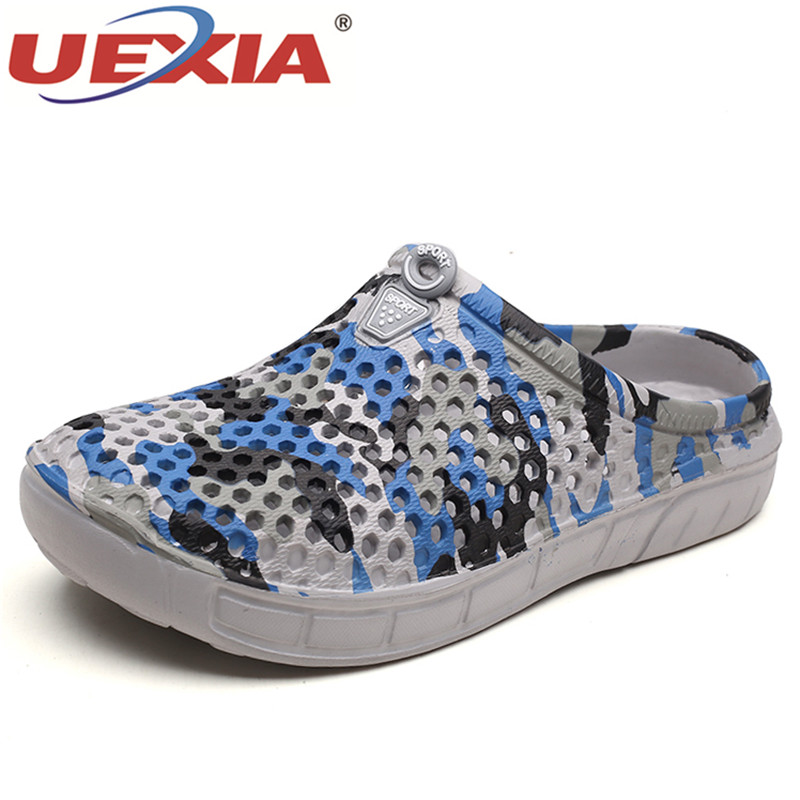 UEXIA 2018 Camouflage Summer Hollow Out Slippers Breathable Beach Flip Flops For Men Casual Non-slip Flats Sandal Men zapatos zenvbnv men hollow out breathable beach 2018 summer slippers flip flops unisex casual slip on flats sandals men shoes zapatos