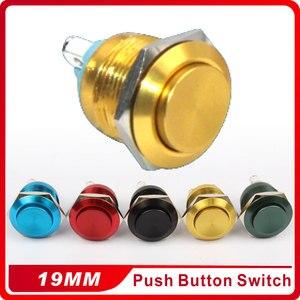 19 мм металлический оксидированный кнопочный переключатель, Круглый, 1 без сброса, кнопка сброса, Винтовая клемма, мгновенный, красный, черны...
