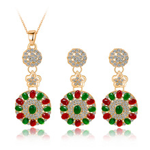 Green/Red Rhinestone Pendant necklace 18K Gold Plated Necklace Earrings Women Wedding Collection African Beads Jewelry Sets