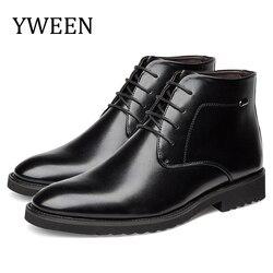 YWEEN Homens Botas de Couro Estilo Britânico Outono e Inverno Clássico Botas de Pele Grossa dos homens Os Homens Se Vestem Botas Quentes Masculinos sapatos de casamento
