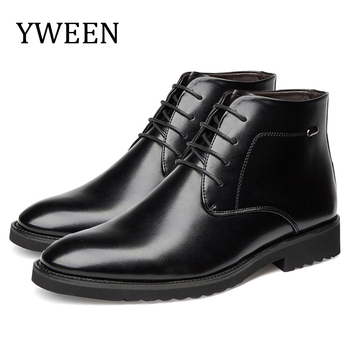 YWEEN  Men Boots Leather British Style Autumn and Winter Classic Men's Boots Thick Fur Warm Men Dress Boots Male Wedding Shoes