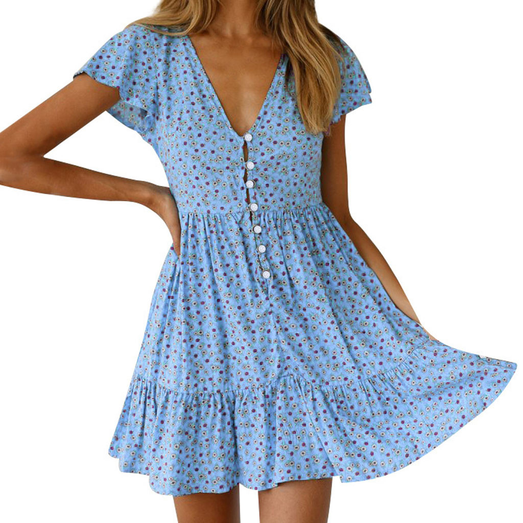 JAYCOSIN dress Womens Summer V-Neck sexy Mini dress girls casual Boho Floral ladies robe Beach A-Line Party Dress Sundress 425