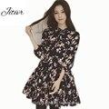 2017 nuevas mujeres primavera dress con impresión de la gasa floja dress Ropa de media Manga Más El Tamaño S-4XL Estilo Lindo Para el femenino
