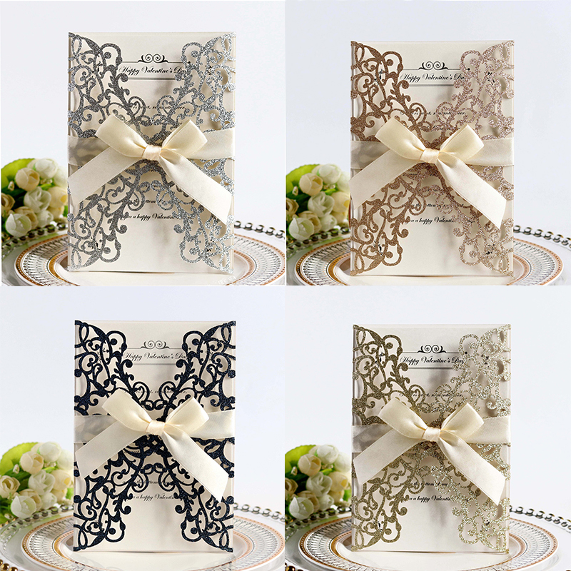 100pcs Glitter Paper Laser Cut Wedding Invitation Card & Ribbon Customize Business Greeting Card Birthday Wedding Party Supplies