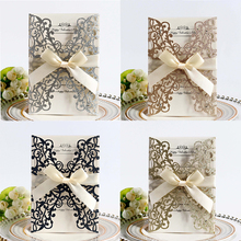 100pcs Glitter Paper Laser Cut Wedding Invitation Card & Ribbon Customize Business Greeting Birthday Party Supplies
