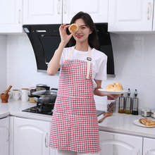 Cotton linen oil-proof grid sleeveless aprons for woman Kitchen wear stain resistant cleaning pinafore adjustable cooking bib недорого