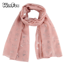 Winfox New Fashion Cute Pink White Color Dog Animal Print Foil Sliver Scarf For Womens Ladies Girls Mother Gifts Dropshipping