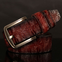 2017 Genuine Cowskin Leather Belts For Women Carved Design Retro Metal Women Strap Cintos Ceinture Female
