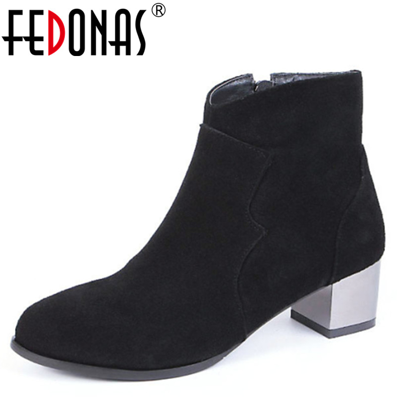 FEDONAS Cow Suede Ankle Boots Fashion Thick Heel Shoes Women Boots High Heel Genuine Leather Lady Martin Boots Large Size 34-44 large size 34 40 2016 fall women ankle boots cowhide soft leather flower genuine leather women short boots flat with shoes lady