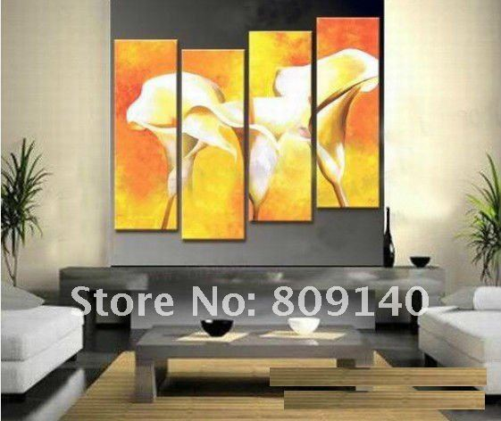 Free shipping Flower Oil Painting canvas Abstract Yellow Bright ...