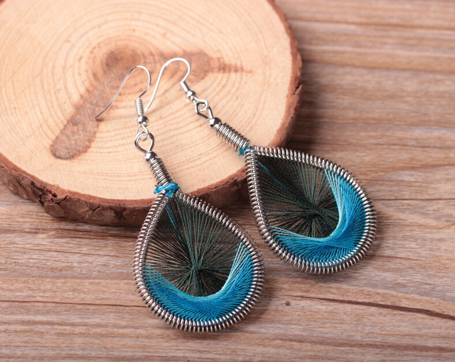 Colorful Peacock Tail Wire Thread Earrings