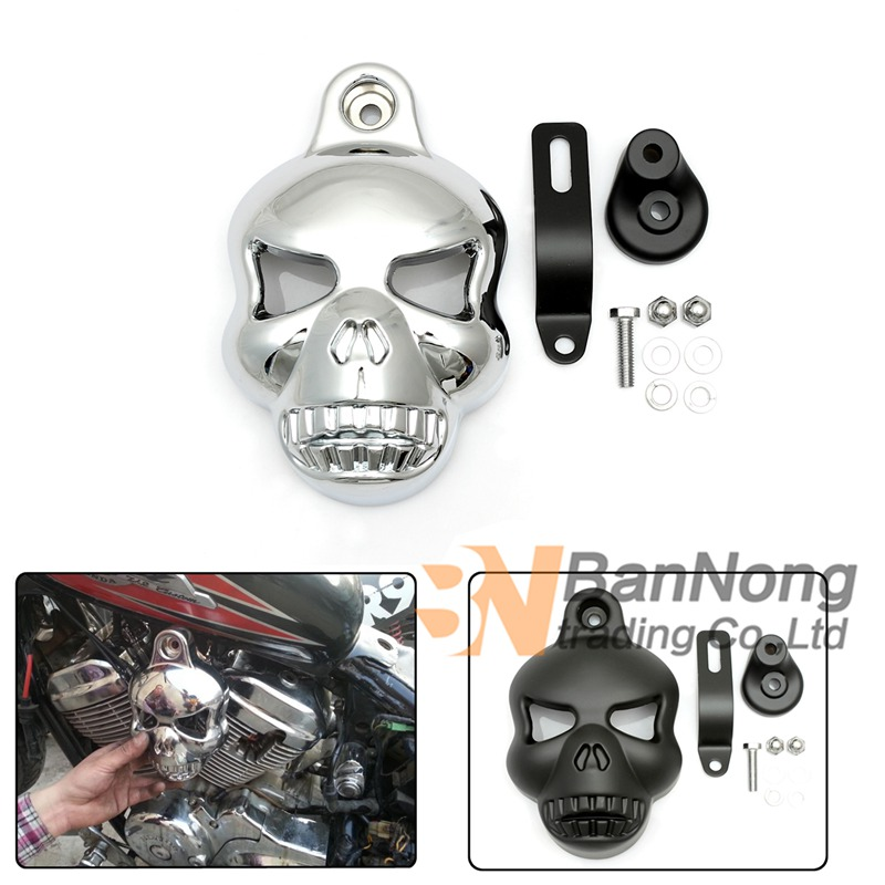 cruise Motorcycle Modified Skull Horn Carburetor Cover For Honda Steed 400 600 Shadow 400 750 Darg