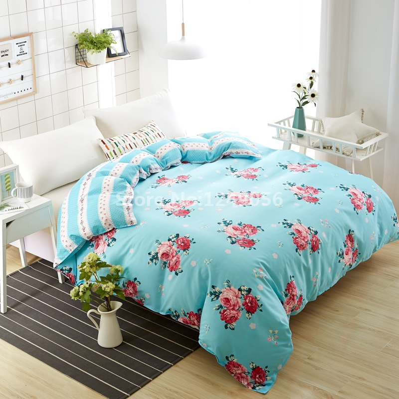 Plain Blue Rose Flower Duvet Cover New Design 1 Pc Skin Care Cotton Quilt Cover Twin Full Double Queen Comforter Case Bedclothes