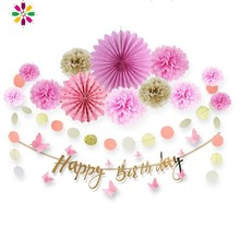 Pink Birthday Party Decorations Kids Set 15pcs Hanging Happy Banner Paper Garlands for Girl & Adult