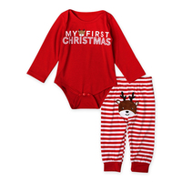 2016 2pcs My First Christmas Newborn Baby Girls Boys Long Sleeve Romper Striped Pants Cartoon Baby