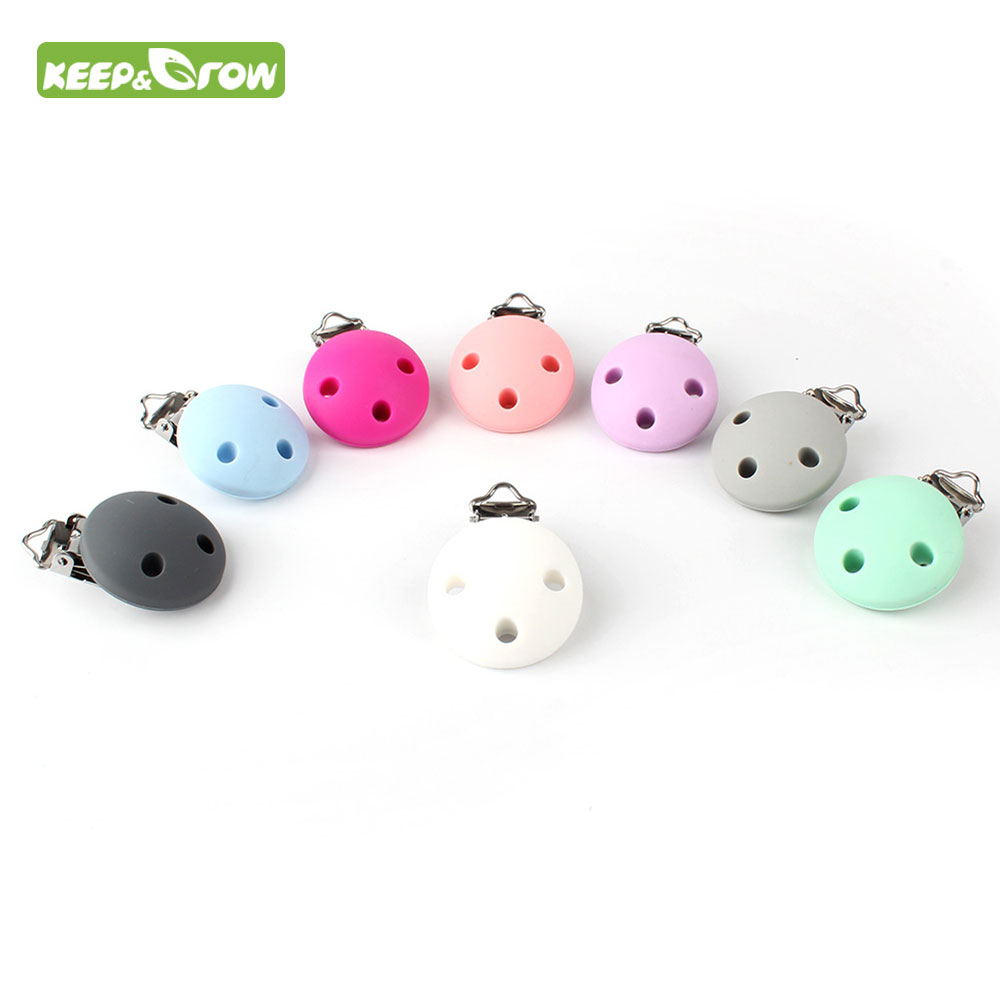 KEEP&GROW 1PIece Pacifier Clip Cartoon Round Silicone Teethers Holder DIY Nursing Soother Clips Chains BPA Free Baby Teethers