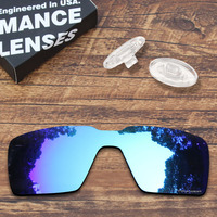 ToughAsNails Resist Seawater Corrosion Blue Mirrored Polarized Replacement Lens and Clear Nose Pads for Oakley Probation