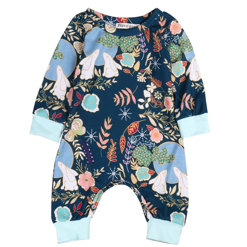 2018 Flower Printed  Long Sleeve Born Baby Boys Girls Cotton Romper Jumpsuit Outfits Sunsuit Clothes New hurave infant clothing color stripes cotton knit long sleeve jumpsuit velvet baby romper new born baby boys and girls clothes