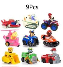 8 pçs/set Patas Cão de Patrulha Brinquedo Anime Figuras de Ação Com Escudo Crianças Brinquedo Clássico Brinquedo de Presente de Natal Para Crianças