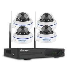 Techage 4CH 무선 2 테라바이트 HDD NVR CCTV 보안 시스템 4 pcs 720 P 1MP 돔 Wifi IP 카메라 Ir 야간 감시 키트