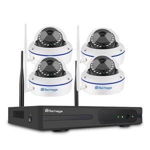 Image 1 - Techage 4CH 무선 2 테라바이트 HDD NVR CCTV 보안 시스템 4 pcs 720 P 1MP 돔 Wifi IP 카메라 Ir 야간 감시 키트