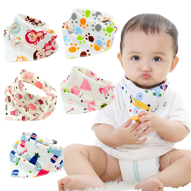 Cartoon Animal Baby Bibs Print Baby Bandana Bibs Cotton Towel Infant Kids Scarf