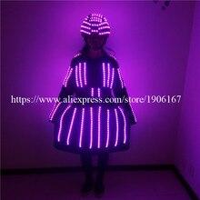 Мода Световой Для женщин этап Костюмы со светодиодной шлем мигающий платье ночной клуб Маскарад Производительность Одежда для танцев