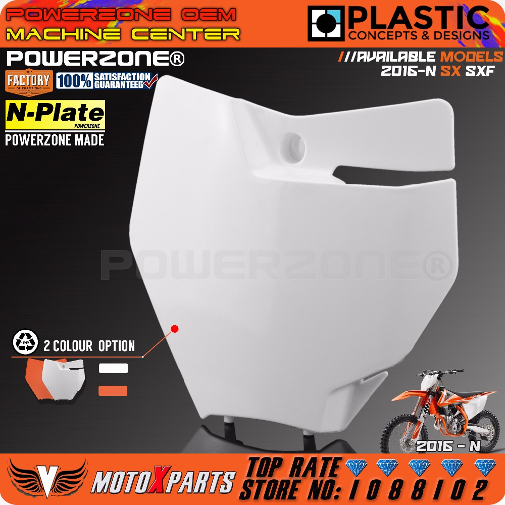 Powerzone Front Number Plate Name Plate Plastic Cover for KTM 250/350/450 SX-F/XC-F and 125/150 SX 2016-N Motocross Enduro clutch cover protection cover for ktm 250 sx f 250 xc f 350 xc f 2013 2014 2015