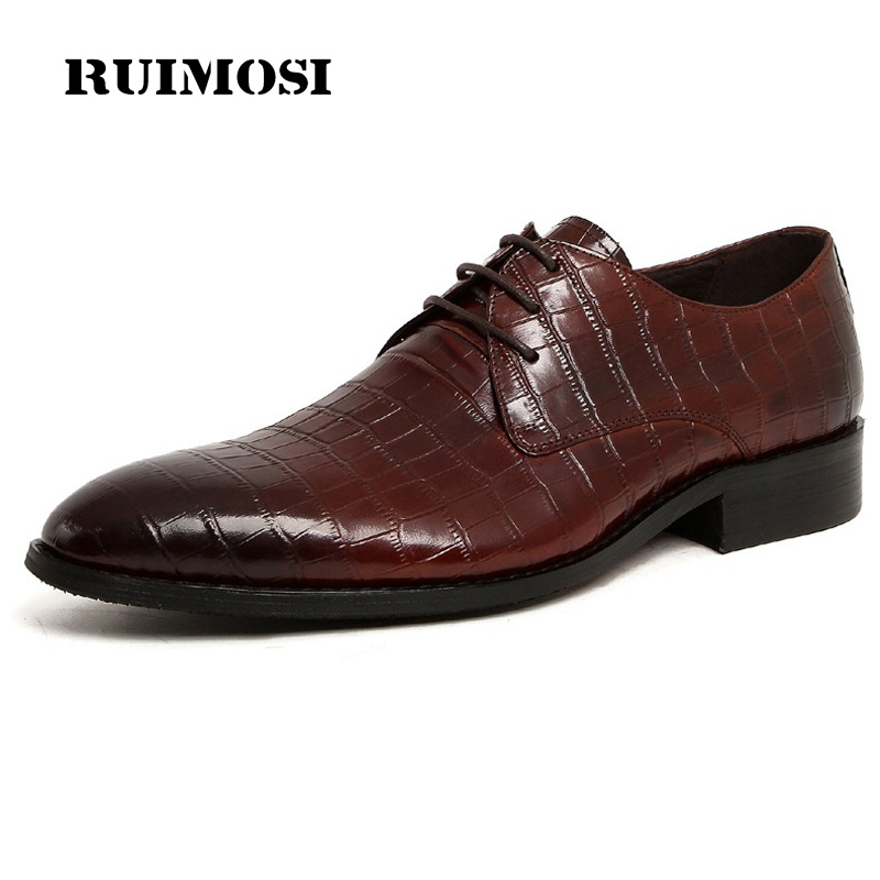 RUIMOSI Italian Designer Pointed Toe Man Formal Wedding Dress Shoes Luxury Genuine Leather Male Oxfords Men's Bridal Flats CE86 fashion top brand italian designer mens wedding shoes men polish patent leather luxury dress shoes man flats for business 2016