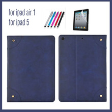 smart Case for Apple ipad 5 / ipad Air magnetic slim tablet PU leather Cover Flip stand shell coque para+Screen Protector+stylus