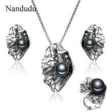 Nandudu High Quality Antique Black Pearl Leaf Big Earrings Ring Necklace Jewelry Sets for Women Retro Punk Thai Silver Jewelry(China)