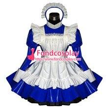 Free Shipping font b Sexy b font Sissy Maid Dress Pvc Dress Blue Lockable Uniform font