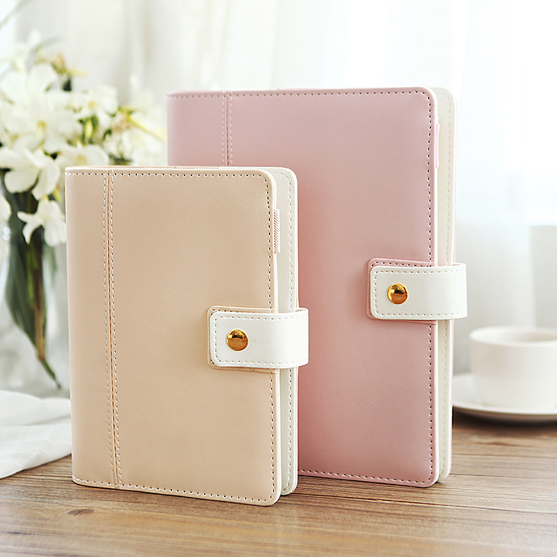 Nuevo Hot Korean A5 A6 Cute Macaron Leather Notebook Planner Spiral - Blocs de notas y cuadernos